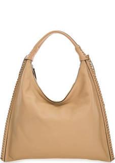 Бежевая сумка из натуральной кожи на молнии Abro