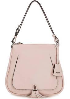 Розовая сумка из натуральной кожи с длинной ручкой Abro