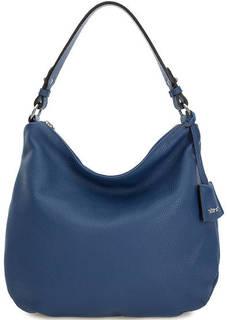 Синяя кожаная сумка с одним отделом Abro
