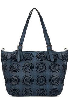 Синяя кожаная сумка с одним отделом Gianni Conti