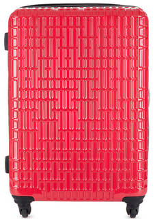 Пластиковый чемодан на колесах красного цвета Verage