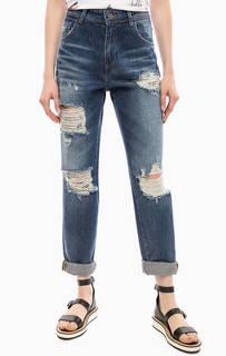 Рваные джинсы с заломами Fornarina