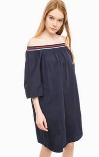 Синее платье из хлопка с открытыми плечами Fornarina