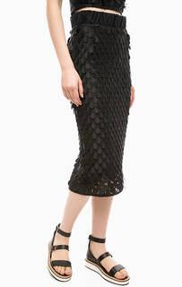 Черная юбка-карандаш с оригинальной отделкой Fornarina