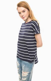 Синяя футболка из вискозы в полоску Hilfiger Denim