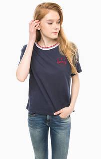 Синяя футболка с вышивкой Hilfiger Denim