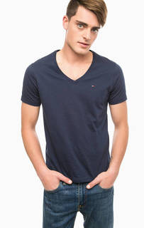 Однотонная хлопковая футболка Hilfiger Denim