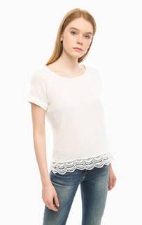 Белая блуза из хлопка с короткими рукавами Tom Tailor Denim