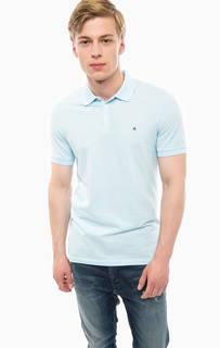 Голубая футболка поло из хлопка Calvin Klein Jeans