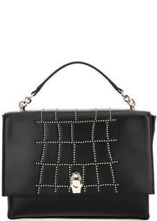 Черная кожаная сумка с откидным клапаном Cavalli Class