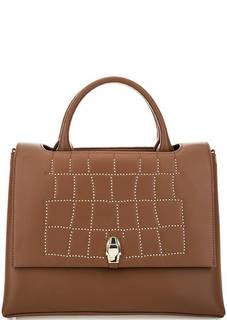 Коричневая кожаная сумка с металлическим декором Cavalli Class