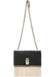 Черная кожаная сумка через плечо Cavalli Class