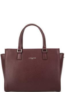 Бордовая кожаная сумка на молнии Lancaster