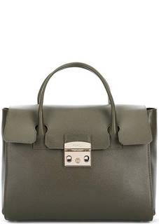 Кожаная сумка цвета хаки с откидным клапаном Furla