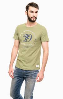 Хлопковая футболка цвета хаки Tom Tailor Denim