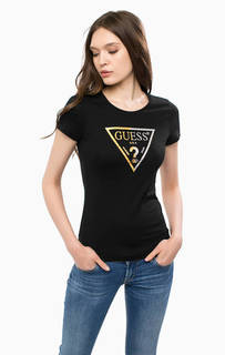 Черная хлопковая футболка Guess
