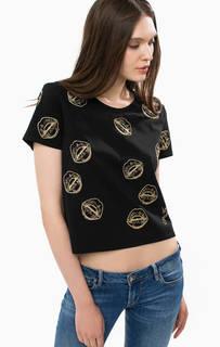 Черная футболка оверсайз с золотистой вышивкой Guess