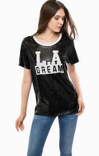 Черная футболка с отделкой паейтками Guess