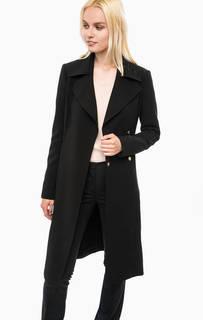 Черное пальто на кнопках  с поясом Marciano Guess