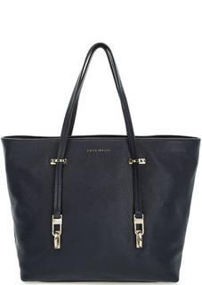 Синяя сумка из натуральной кожи на молнии Coccinelle