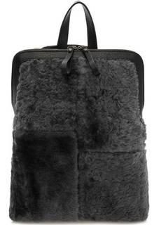 Серая меховая сумка-рюкзак на молнии Io Pelle