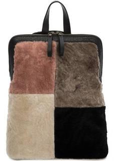 Разноцветная меховая сумка-рюкзак на молнии Io Pelle