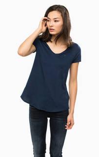 Хлопковая футболка синего цвета Hilfiger Denim