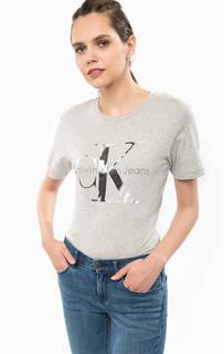 Серая футболка с принтом Calvin Klein Jeans