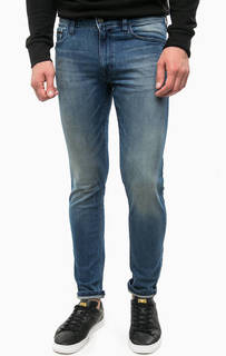 Синие джинсы скинни с заломами Calvin Klein Jeans
