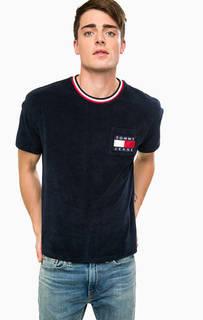Синяя хлопковая футболка с карманом Hilfiger Denim