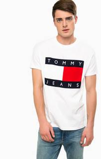 Белая хлопковая футболка с круглым вырезом Hilfiger Denim