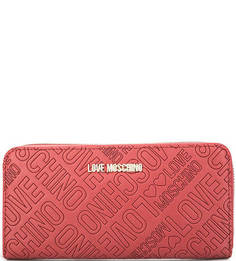 Красный кошелек на молнии Love Moschino