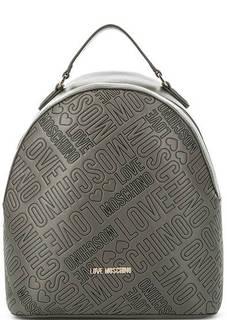 Серый рюкзак на молнии Love Moschino