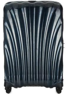 Синий пластиковый чемодан на колесах Samsonite