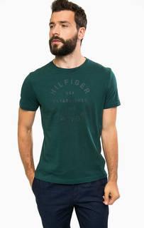 Зеленая хлопковая футболка Tommy Hilfiger