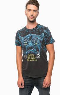 Серая футболка из хлопка с принтом Diesel