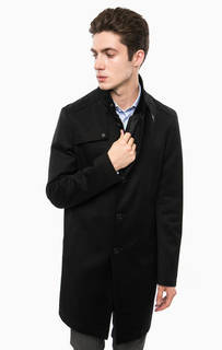 Черное пальто с карманами и ветрозащитной планкой Cinque