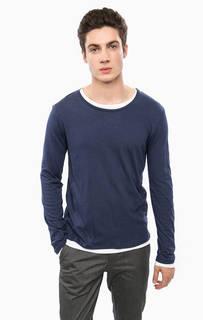 Синяя хлопковая футболка с круглым вырезом Cinque