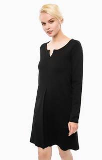 Черное трикотажное платье с расклешенной юбкой Cinque