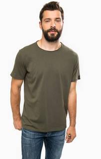 Хлопковая футболка цвета хаки Replay