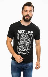 Черная футболка с контрастным принтом Replay