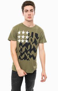 Хлопковая футболка цвета хаки Hilfiger Denim