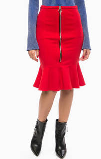 Красная трикотажная юбка с оборками Pinko