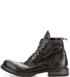 Коричневые кожаные ботинки на шнуровке Moma