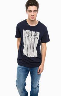 Синяя хлопковая футболка с принтом G Star RAW