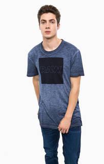 Синяя хлопковая футболка G Star RAW