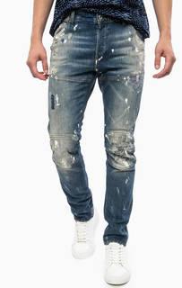 Синие зауженные джинсы с вышивкой и потертостями G Star RAW