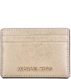 Золотистая кожаная визитница Michael Michael Kors
