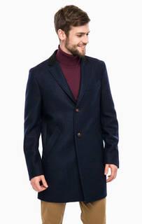 Синее шерстяное пальто в клетку United Colors of Benetton
