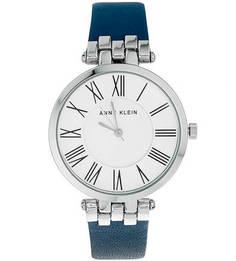 Часы с синим кожаным браслетом Anne Klein